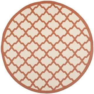 Safavieh Courtyard Moroccan Trellis Beige/ Terracotta Indoor/ Outdoor Rug - 7'10 Round