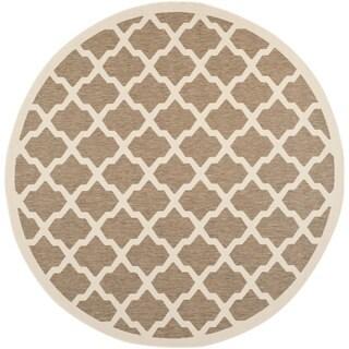 Safavieh Indoor/ Outdoor Courtyard Geometric Pattern Brown/ Bone Rug (7'10'' Round)