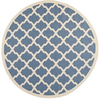 Safavieh Courtyard Moroccan Trellis Blue/ Beige Indoor/ Outdoor Rug (7'10 Round)