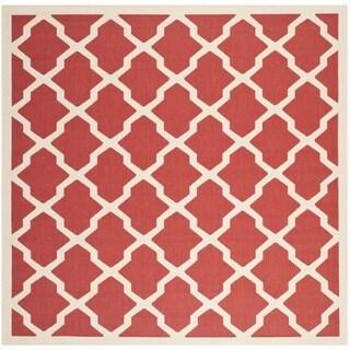 Safavieh Courtyard Moroccan Trellis Red/ Bone Indoor/ Outdoor Rug (7'10 Square)