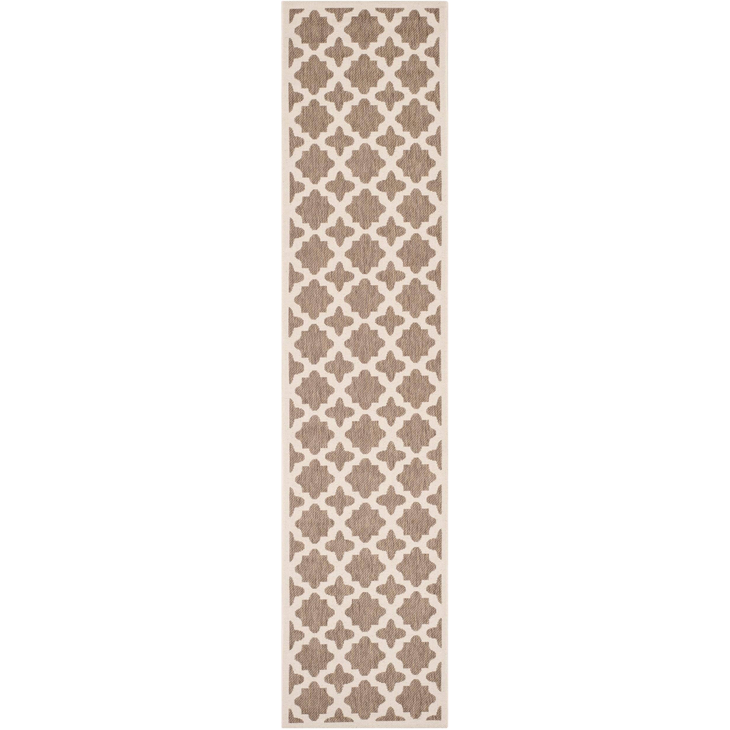 Safavieh Indoor/ Outdoor Courtyard Brown/ Bone Stain Resistant Rug (23 X 67)