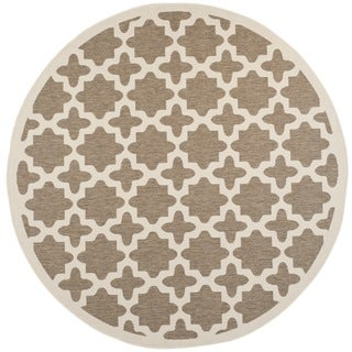"Safavieh Courtyard All-Weather Brown/ Bone Indoor/ Outdoor Rug (7'10"" Round)"
