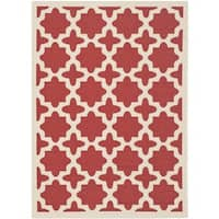 "Safavieh Courtyard All-Weather Red/ Bone Indoor/ Outdoor Rug (5'3"" x 7'7"") - 5'3"" x 7'7"""