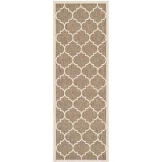 Safavieh Indoor/ Outdoor Courtyard Brown/ Bone Rug (2'3 x 10')