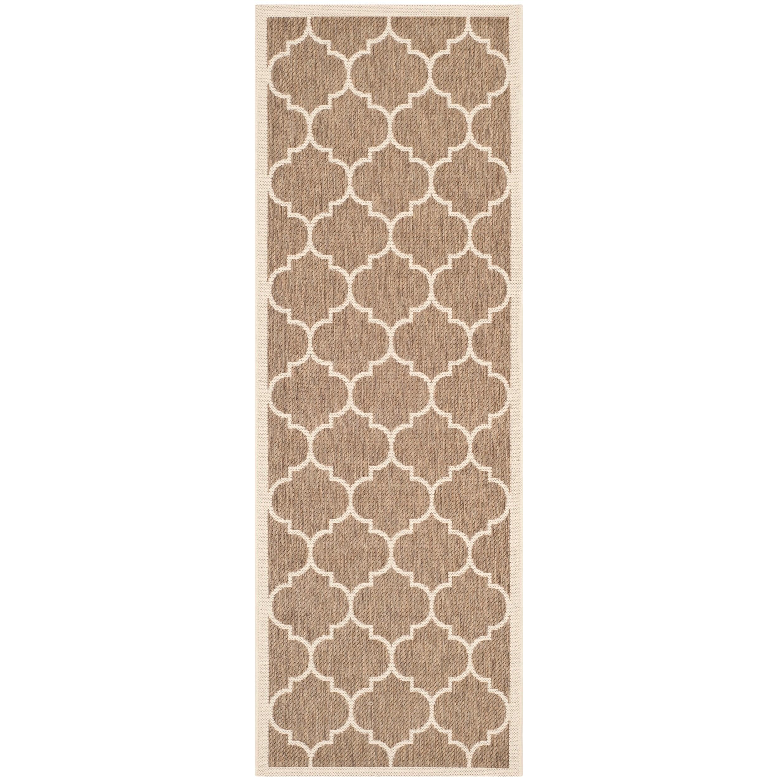 Safavieh Indoor/ Outdoor Courtyard Brown/ Bone Contemporary Rug (23 X 67)