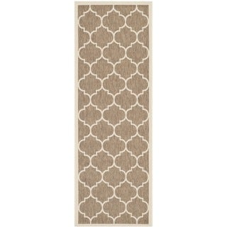 Safavieh Indoor/ Outdoor Courtyard Brown/ Bone Contemporary Rug (2'3 x 6'7)