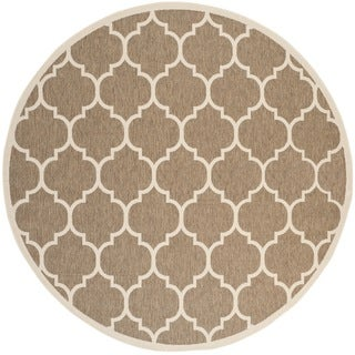 "Safavieh Courtyard Moroccan Pattern Brown/ Bone Indoor/ Outdoor Rug (7'10"" Round)"