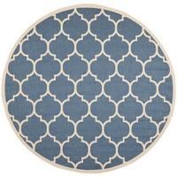Safavieh Courtyard Moroccan Pattern Blue/ Beige Indoor/ Outdoor Rug - 5'3 round
