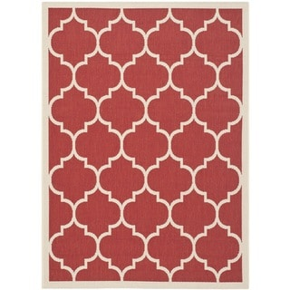 "Safavieh Courtyard Moroccan Pattern Red/ Bone Indoor/ Outdoor Rug (5'3"" x 7'7"")"