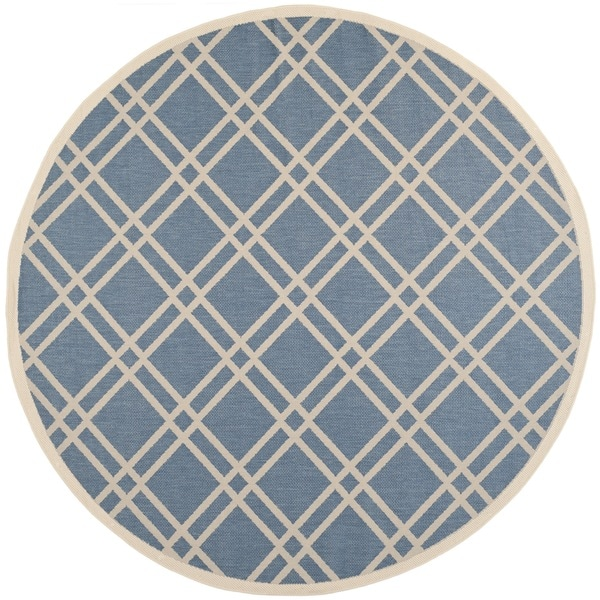 Safavieh Indoor/Outdoor Courtyard Blue/Beige Patterned Rug (7'10 Round)