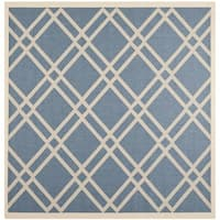 "Safavieh Indoor/Outdoor Courtyard Blue/Beige Bordered Rug - 7'10"" x 7'10"" square"