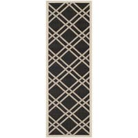 Safavieh Indoor/ Outdoor Courtyard Black/ Beige Runner Rug - 2'3 x 6'7