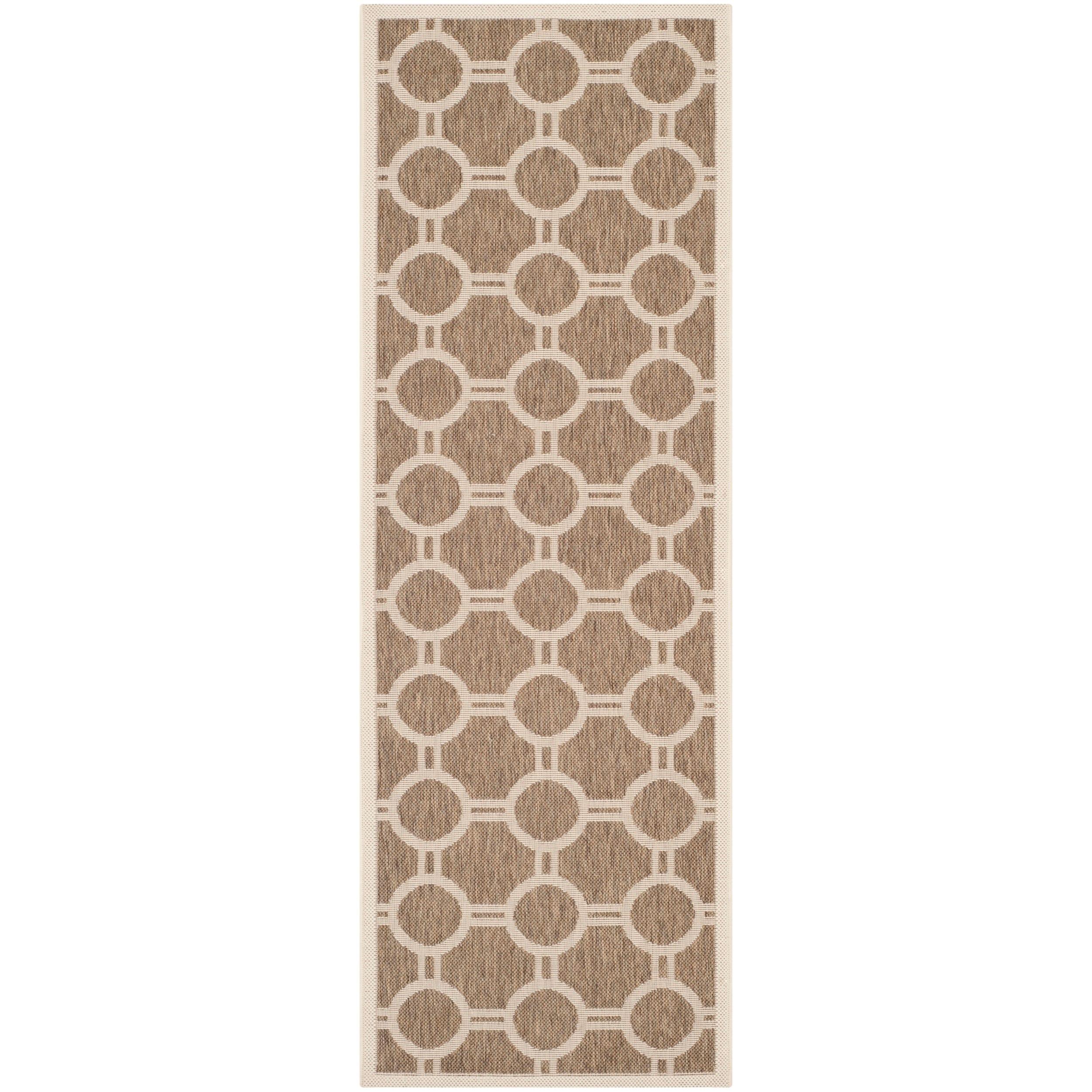 Safavieh Indoor/ Outdoor Courtyard Brown/ Bone Geometric Rug (23 X 67)