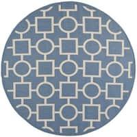 Safavieh Indoor/Outdoor Courtyard Blue/Beige Modern Rug - 7'10 Round