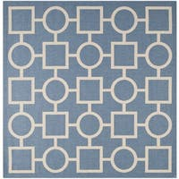 Safavieh Contemporary Indoor/Outdoor Courtyard Blue/Beige Rug - 7'10 Square