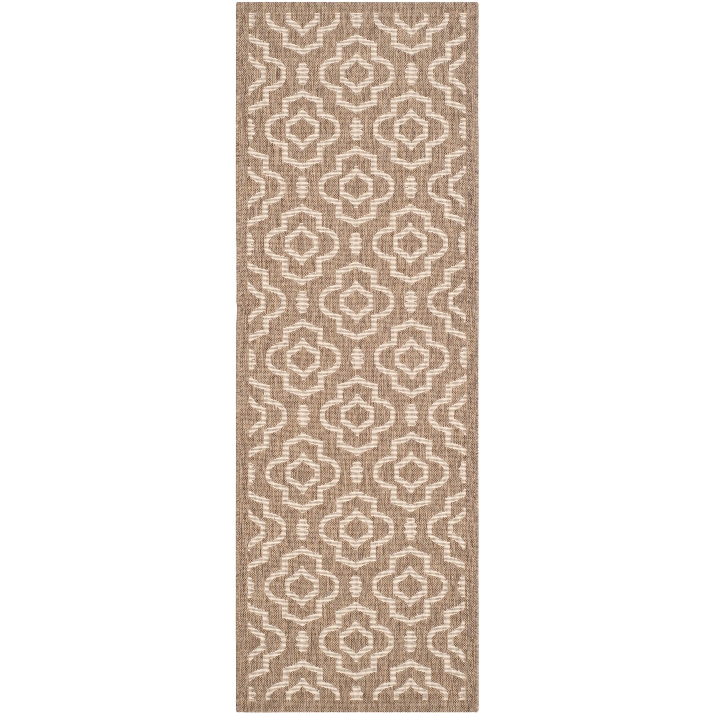 Safavieh Indoor/ Outdoor Courtyard Brown/ Bone Rectangular Rug (23 X 67)