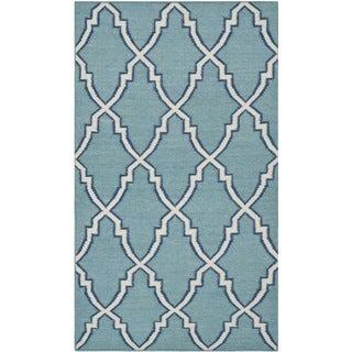 Safavieh Handwoven Moroccan Reversible Dhurrie Light Blue Geometric Wool Rug (3' x 5')
