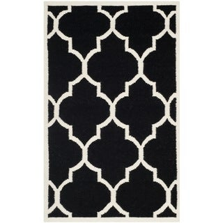 Safavieh Hand-woven Moroccan Reversible Dhurrie Black Wool Rug (3' x 5')