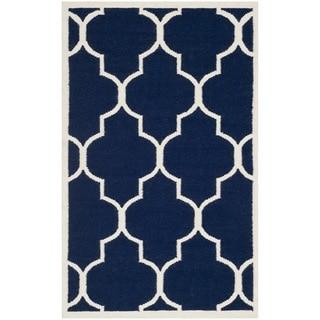 Safavieh Hand-woven Moroccan Reversible Dhurrie Navy Wool Rug (4' x 6')
