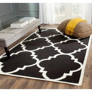 Safavieh Handwoven Moroccan Reversible Dhurrie Black Wool Area Rug (4' x 6')