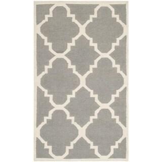 Safavieh Handwoven Moroccan Reversible Dhurrie Grey Geometric Wool Rug (3' x 5')