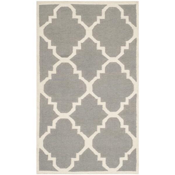 Safavieh Handwoven Moroccan Reversible Dhurrie Grey Geometric Wool Rug (4' x 6')