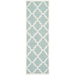 Safavieh Handwoven Moroccan Reversible Dhurrie Transitional Light Blue Wool Rug (2'6 x 8')
