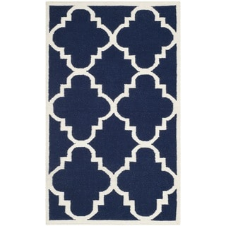 Safavieh Handwoven Moroccan Reversible Dhurrie Transitional Navy Wool Rug (3' x 5')