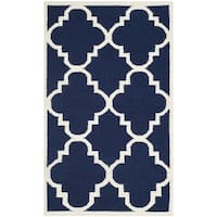 Safavieh Handwoven Moroccan Reversible Dhurrie Transitional Navy Wool Rug - 3' x 5'