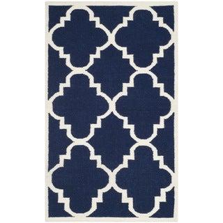 Safavieh Handwoven Moroccan Reversible Dhurrie Transitional Navy Wool Rug (3' x 5')