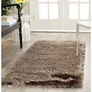 Safavieh Handmade Silken Glam Paris Shag Sable Brown Polyester Runner (2'3 x 12')