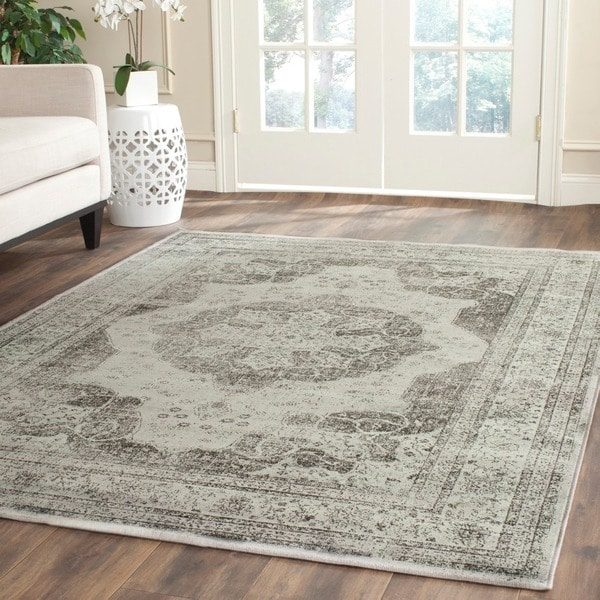 Safavieh Vintage Grey/ Multi Distressed Silky Viscose Rug - 8'10 x 12'2