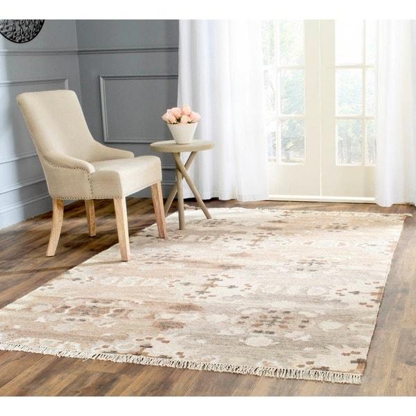 Safavieh Hand-woven Natural Kilim Grey Wool Rug (9' x 12')