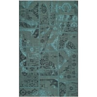 Safavieh Palazzo Black/ Turquoise Overdyed Chenille Area Rug - 8' x 11'
