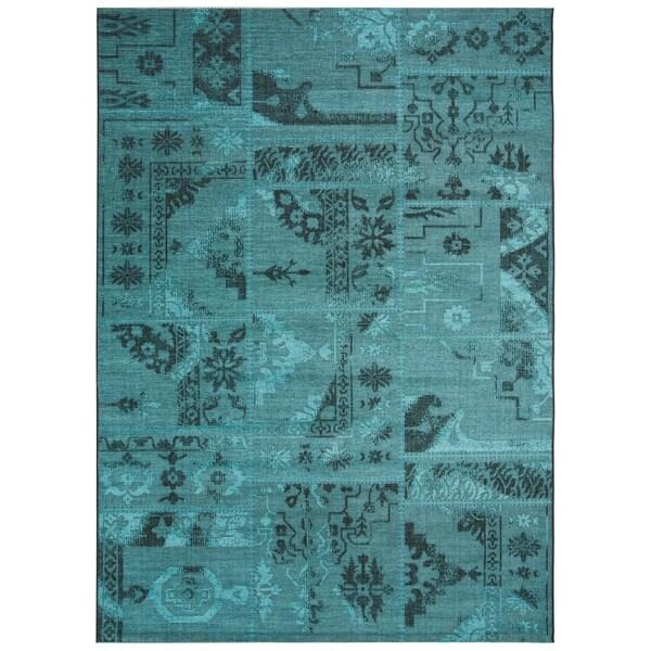 Safavieh Palazzo Black/ Turquoise Overdyed Chenille Area Rug - 8' X 11'