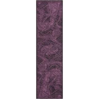 Safavieh Palazzo Black/ Purple Overdyed Chenille/ Polypropylene Runner Rug (2' x 7'3)
