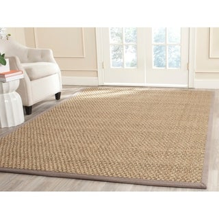 Safavieh Casual Natural Fiber Natural and Grey Border Seagrass Rug - 8' x 10'