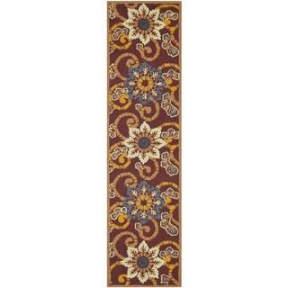 Safavieh Hand-hooked Indoor/Outdoor Four Seasons Burgundy Rug (2' x 8')