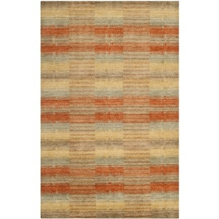 Safavieh Handmade Himalaya Multicolored Plaid Wool Tibetan Rug (9' x 12')