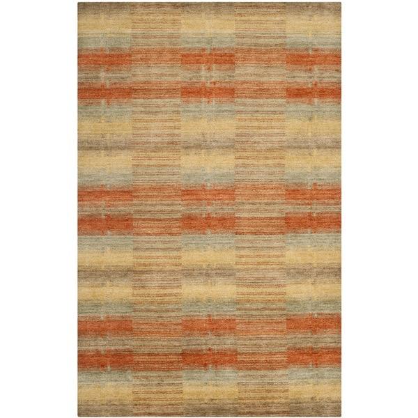 Safavieh Handmade Himalaya Multicolored Plaid Wool Tibetan Rug - 9' x 12'