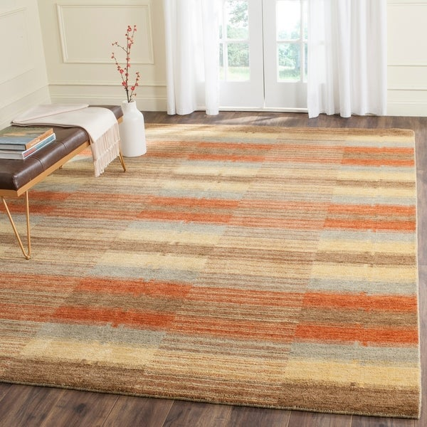 Safavieh Handmade Himalaya Multicolored Plaid Wool Tibetan Rug - 9' x 12'