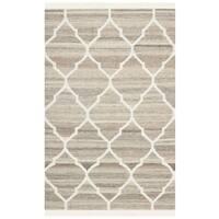 "Safavieh Hand-woven Natural Kilim Light Grey/ Ivory Wool Rug - 2'-6"" X 4'"