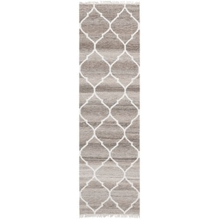 Safavieh Hand-woven Natural Kilim Light Grey/ Ivory Wool Rug (2'3 x 6')