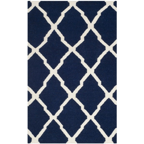 Safavieh Hand-woven Moroccan Reversible Dhurrie Navy Wool Rug (3' x 5') - 3' x 5'