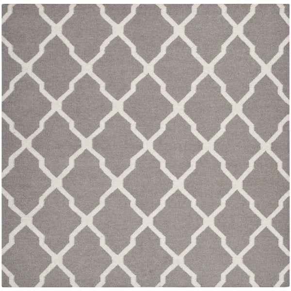 Safavieh Handwoven Moroccan Reversible Dhurrie Geometric Pattern Dark Grey  Wool Rug (6u0026#x27