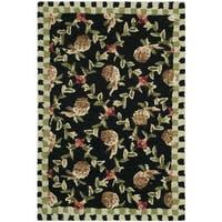Safavieh Hand-hooked Chelsea Black/ Ivory Wool Rug - 2' x 3'
