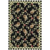 Safavieh Hand-hooked Chelsea Black/ Ivory Wool Rug - 2'6 x 4'