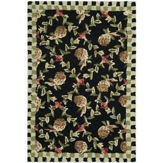 Safavieh Hand-hooked Chelsea Black/ Ivory Wool Rug (2'9 x 4'9)