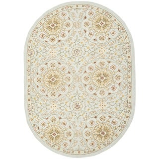 Safavieh Hand-made Chelsea Teal/ Green Wool Rug (4'6 x 6'6 Oval)