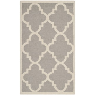 Safavieh Hand-woven Moroccan Reversible Dhurrie Dark Grey Wool Rug (4' x 6')